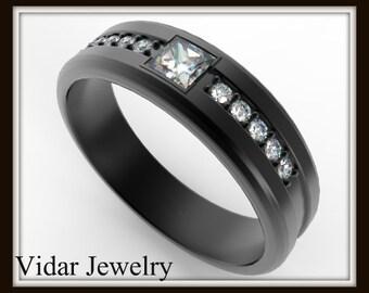 Black Gold Wedding Band For Men,Unique Wedding Diamond Ring For Mens,Princess Cut Diamond Ring For Mens,Black Gold Wedding Band For Mens