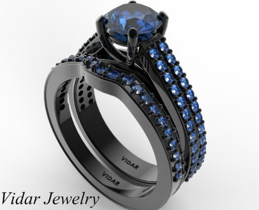 Black Gold Blue Sapphire Wedding Ring SetUnique Wedding Ring