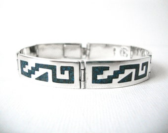 Vintage Sterling Silver Turquoise Inlay Linked Bracelet Made in  Taxco Mexico
