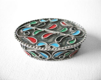 Vintage Paisley Enamel Sterling Silver Pill Box With Multi Colors