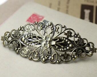 4pcs Antique Brass Flower Barrette Hair Clip-Filigree Hairclip-Copper Hair clip  80x35mm DIY Jewelry