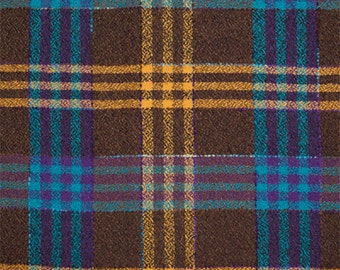 Wool Fabric by Yard Brown Plaid with Turquoise Stripes (Winter Coat)