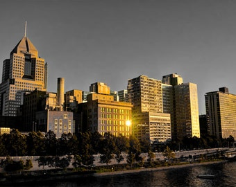 Downtown Pittsburgh Skyline Photo, selective color HDR photograph, black, white, and gold, fine photography prints, Gilded Skyline 2