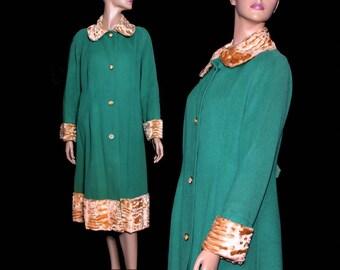 Collectible Vintage 1930s Coat Cashmere Faux Fur Old Hollywood Glamour Steampunk Dress Art Deco Art Nouveau Avant Garde  Dress
