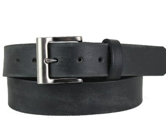 Men's High-Quality Black Leather Belt Changeable Handmade fit-all Square Buckle Classic (1110_P008)