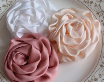 3 Handmade Fabric Roses  In 3 inches MY- 193-05 Read to Ship