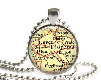 Florence Italy map necklace pendant charm, photo gift, mom gift, Pisa vintage map jewelry, Italian charm necklace, Custom Florence pendant
