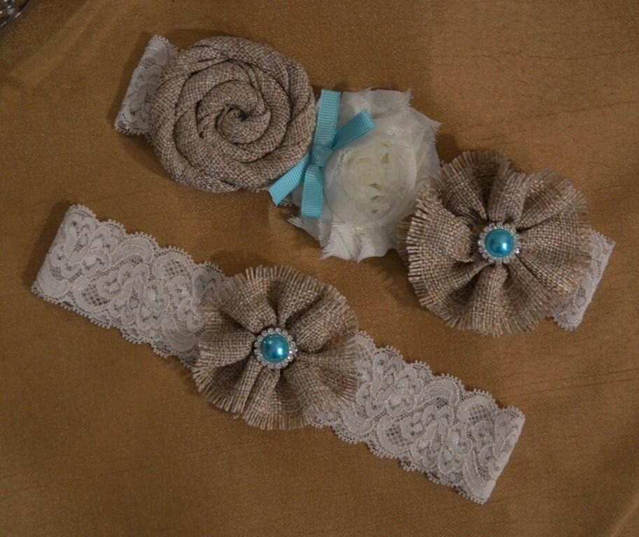 Country Wedding Garters: Burlap Wedding Garter Set Rustic Style Ivory Stretch Floral