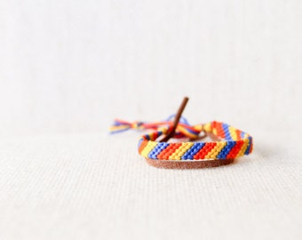 Friendship Bracelet Stripes Red-Orange Yellow and Blue Woven Bracelet Gift for Him Stocking Stuffer