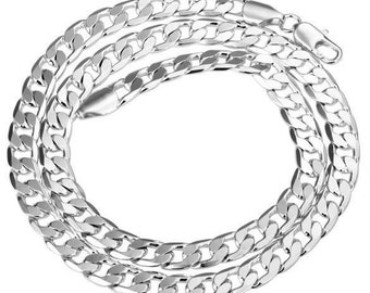 """5pcs 22"""" 10mm silver plated Necklace Curb Chain Wholesale"""
