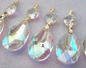 10 Iridescent Asfour Crystal Teardrop Chandelier Prisms 38mm AB Shabby Chic