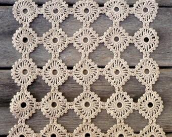 Champagne Crochet Doily  Vintage Portuguese Crochet  ,Beige Table Decor