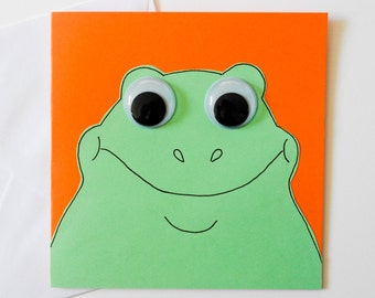 Frog greeting card, Cute frog birthday card, Frog illustration, Card for Frog lovers, Kids frog card, Children's cute frog thank you card