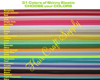 SKINNY ELASTIC - Choose 1 Yard - Any color  - - - List color choice in notes to seller on checkout