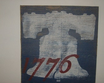 Distressed vintage look 4th of July sign with 1776 and the Liberty Bell/Red white blue/holiday/Americana