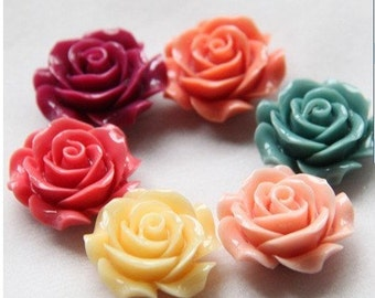 6 pcs of 6 colors of  resin rose w/hole 28mm diameter-RC0283-23-mix color
