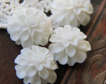12 pcs of resin flower cabochon20mm-0031--17-white
