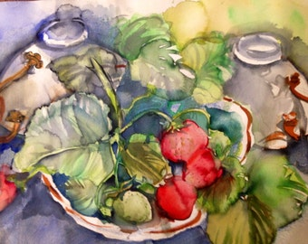 "Original Water Color Painting of Tea Cups and Strawberries, Large Wall art, 18"" x 24"""