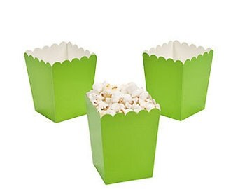 24 Mini lime green popcorn boxes treat favors