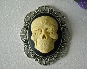 Ivory Day of the Dead Skull Brooch