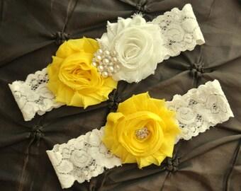 Wedding Garter Belt, Bridal Garter Set - Ivory Lace Garter, Keepsake Garter, Toss Garter, Yellow Wedding Garter, Yellow Bridal Garter Set