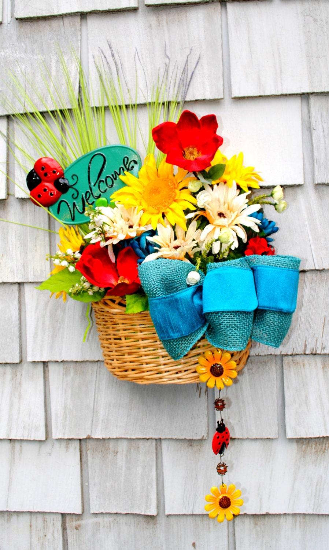 Spring Summer Hanging Basket Front Door Wreath Flower Welcome