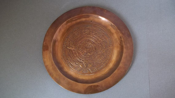 Vintage Copper Tray Hand Hammered Etched Copper Tray Solid