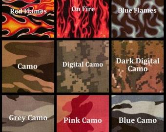 Custom Dog Collar - Design Your Own - Flames & Camo