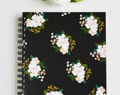 First Snow Notebook/Journal Black cover with Blush Floral