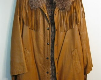 Vintage Corval Paris Saks Fifth Ave Tan Leather & Removable Fur Frill Jacket
