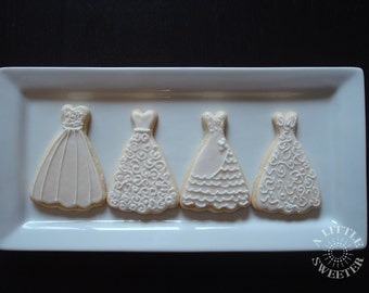 CUSTOMIZABLE Bride Dress Wedding Cookie Favors 1 Dozen
