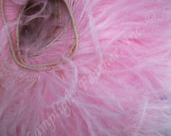 Ostrich Feather Trim, 2 ply, Candy Pink, per yard