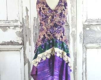 Sale Purple Bohemian Dress Eco Friendly Women's Wearable Art Summer Dress Upcycled Clothing