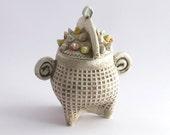 Pottery Sculptured Sugar Bowl