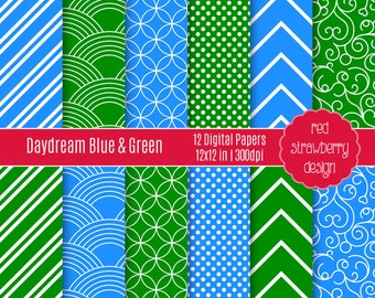 75% OFF Sale - Daydream Blue & Green - 12 Digital Papers - Instant Download - JPG 12x12 (DP150)