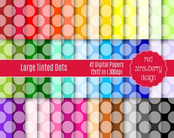 75% OFF Sale - 42 Digital Papers - Large Tinted Dots - Instant Download - JPG 12x12 (DP110)