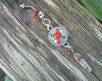 enameled dreamcatcher belly ring  RED in  tribal boho hippie belly dancer beach bohemian tribal fusion and hipster style