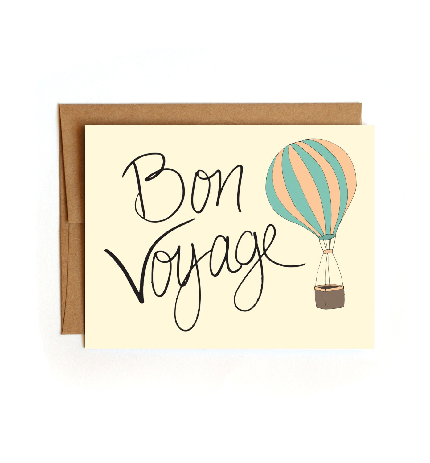 bon voyage air balloon and lettered