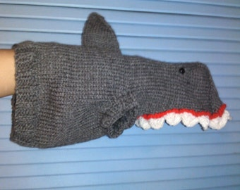 Hand Knit One-Size-Fits-Most Gray Shark Costume for Cats or Small Dogs