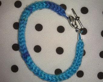 Hand Knit Blue and Purple I-Cord Bracelet