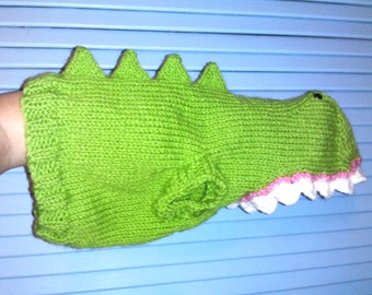 Hand Knit One-Size-Fits-Most Light Green Dinosaur Costume for Cats or Small Dogs