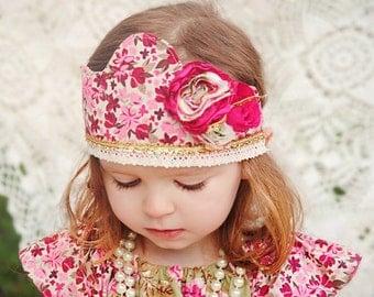 Fabric Crown...Shabby Chic...Girl's Crown...Princess