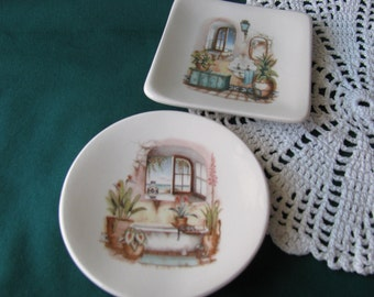 Set of 2 Ceramic Dishes with Bath Design Ceramic Teabag Holders Spoon Rests or Trinket Dishes