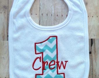 Personalized Birthday Bib, 1st birthday, girl, boy.  Chevron 1st birthday bib.