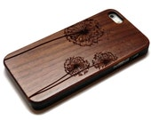 wooden iphone 5 cases with sturdy rubber bumper - bamboo, cherry or black walnut wood - laser engraved - Dandelion