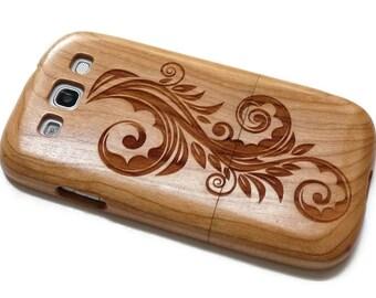 wooden Samsung Galaxy S3  case - wooden S3 case walnut / cherry or bamboo -  Flower