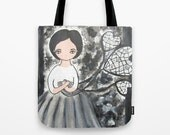 Shopper tote bag canvas art Whimsical Art Bag Black White Grey DreamCatcher Girl Gifts For Her