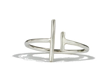Unequal. Sterling silver unequal bars ring.