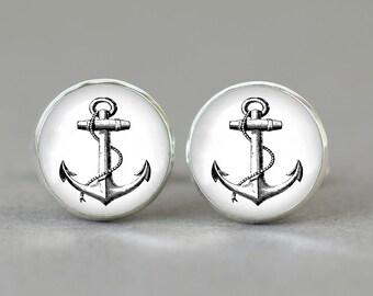 Anchor print cufflinks