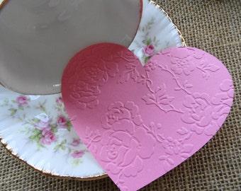 Victorian Embossed Valentine Heart Die cuts Set of 12